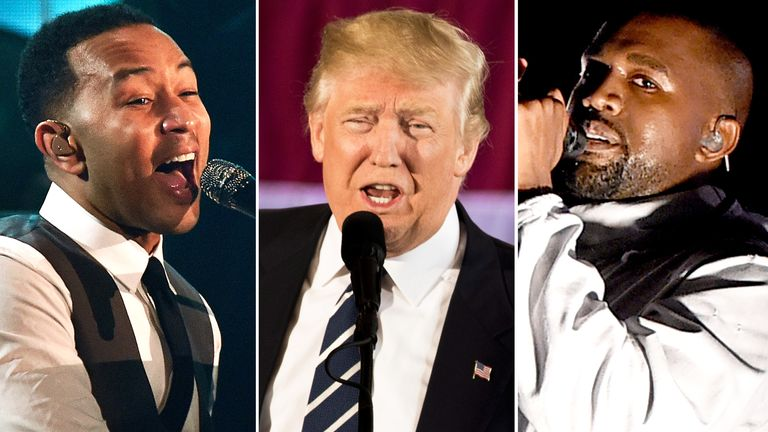John Legend, Donald Trump, and Kanye West