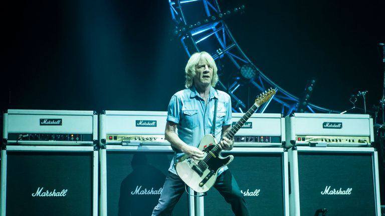Rick Parfitt on stage at the Isle of Wight Festival earlier this year