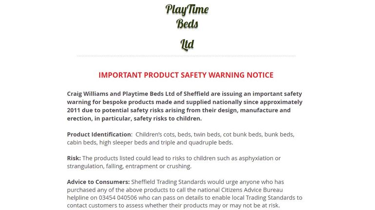Playtime Beds has issued a statement on its website