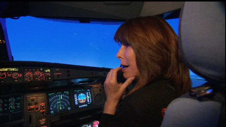 Kay Burley in flight simulator with captain Captain 'Sully' Sullenberger who crashed into the Hudson