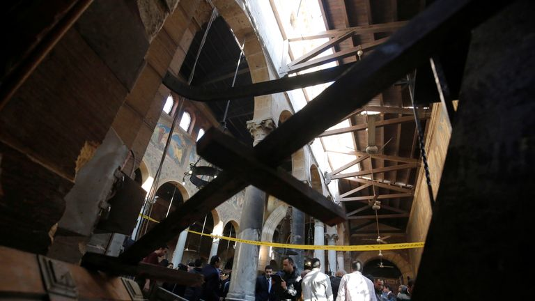The bomb caused extensive damage inside the cathedral
