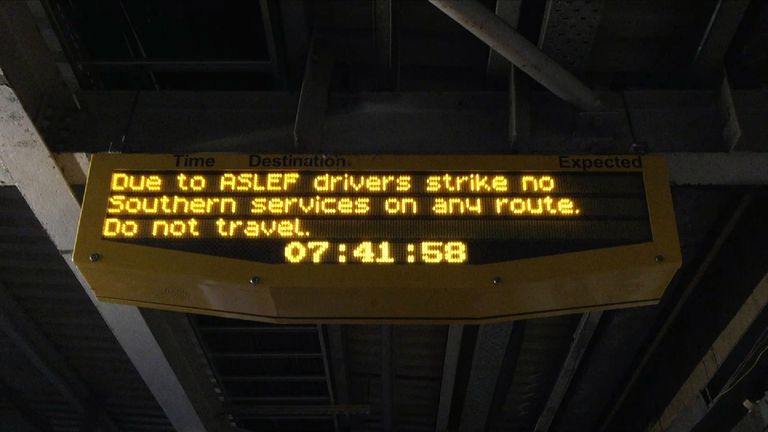 Southern strike announcement board in station