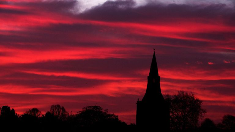 The sunrise over Bingham, Nottinghamshire, as severe weather warnings remain in place for Christmas Eve