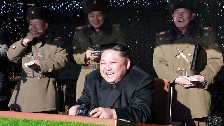 North Korean dictator Kim Jong-Un during an army combat drill - undated photo released by North Korea's official Central News Agency on 11 December 2016
