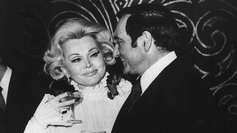 Gabor with her sixth husband, Jack Ryan, after their wedding at Caesar's Palace in Las Vegas in 1975
