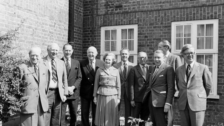 Mrs Thatcher with (left-right) Angus Maude, Jim Prior, Humphrey Atkins, Lord Thorneycroft, Sir Keith Joseph, Lord Carrington, Francis Pym, Sir Ian Gilmour and Sir Geoffrey Howe.