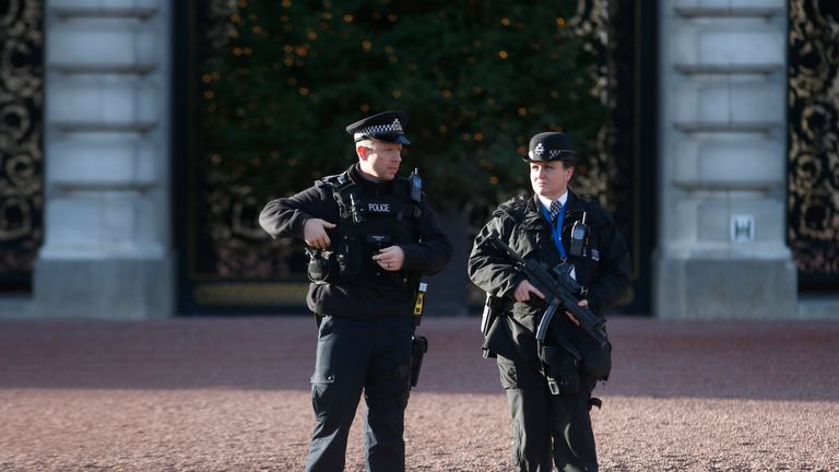 Armed officer at Buckingham Palace before New Year's Eve celebrations in 2015