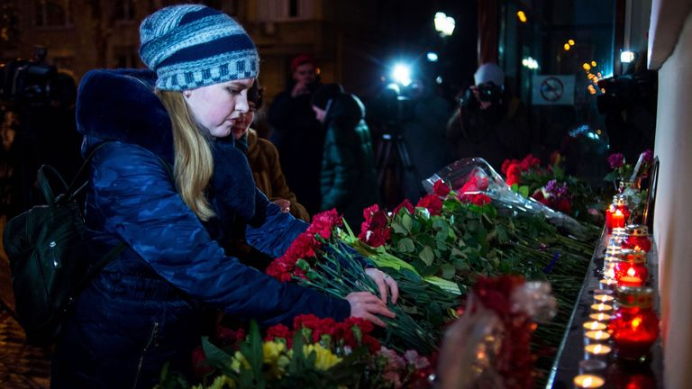 Flowers are left at the home stage of the Alexandrov Ensemble in Moscow