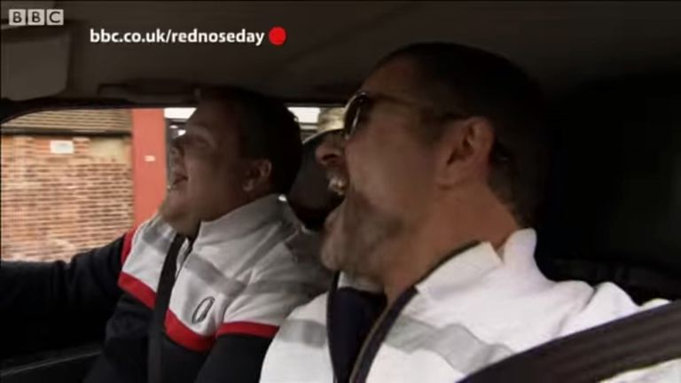 George Michael and James Corden in a Carpool Karaoke