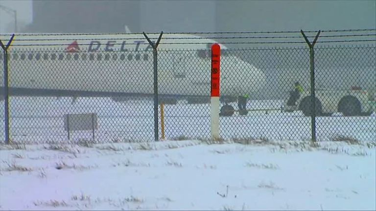 No one was hurt when the airline skidded on the runway at Detroit