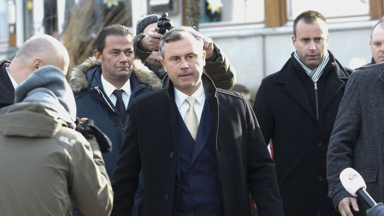 Freedom Party (FPOe) presidential candidate Norbert Hofer