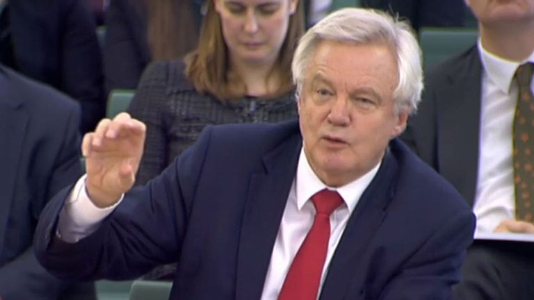 Brexit Secretary David Davis gives evidence to the Commons Exiting the EU Committee