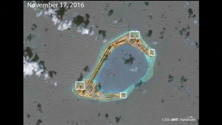 AMTI image apparently showing anti-aircraft guns on Subi Reef