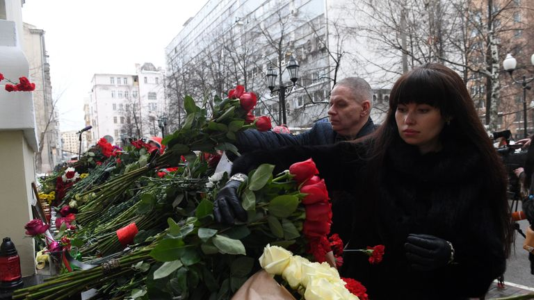 Tributes have been left outside the military choir's base in Moscow