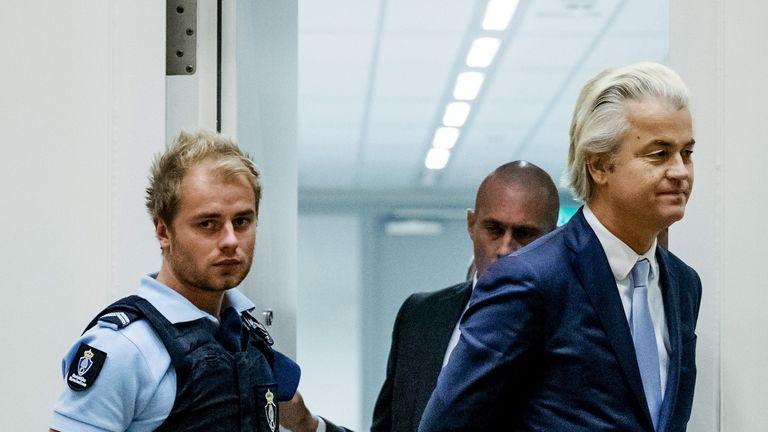 Geert Wilders arrives in court in November