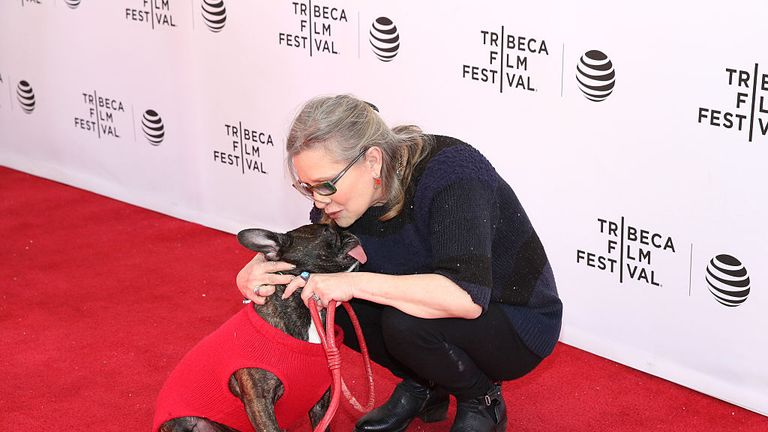 Carrie Fisher and her beloved dog Gary