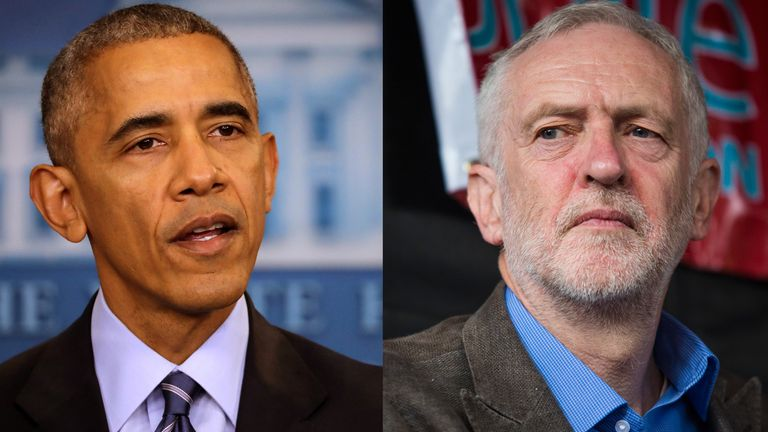 Mr Obama said he thought Bernie Sanders was 'centrist' compared to Mr Corbyn