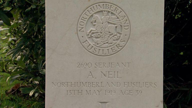 Sgt Andrew Neil's grave in Wallsend, Tyneside