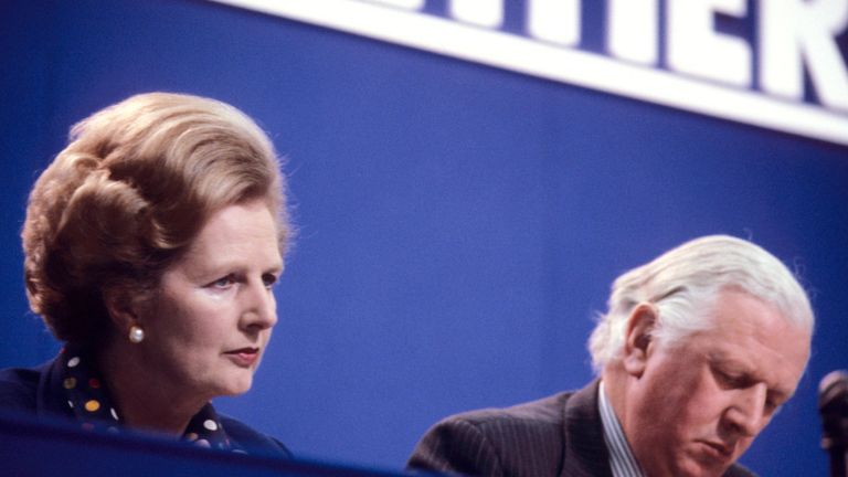Margaret Thatcher with Lord Prior in October 1980