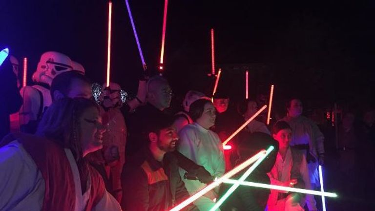 Star Wars fans dress up for a vigil in Seattle on Friday. Picture: Zyastra