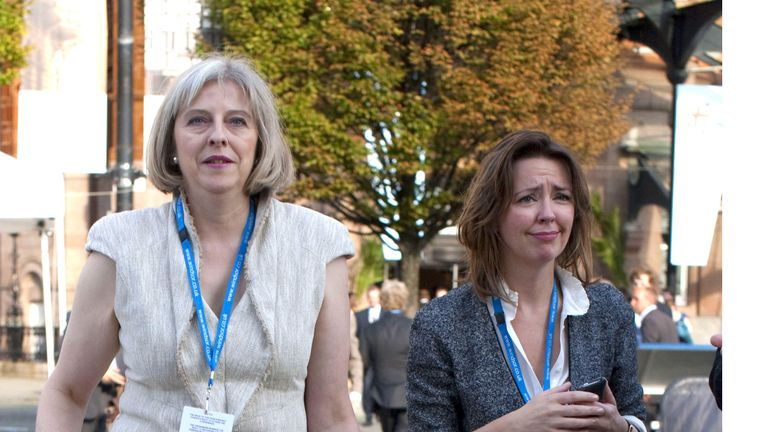 Fiona Hill with Theresa May in 2011