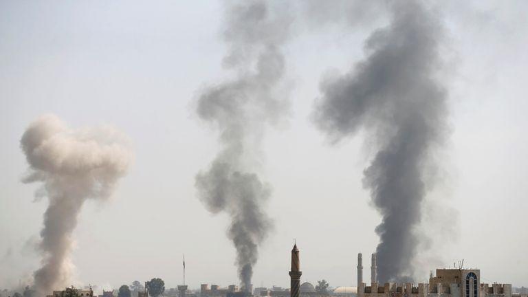 Smoke rises following Saudi-led airstrikes in Sana'a