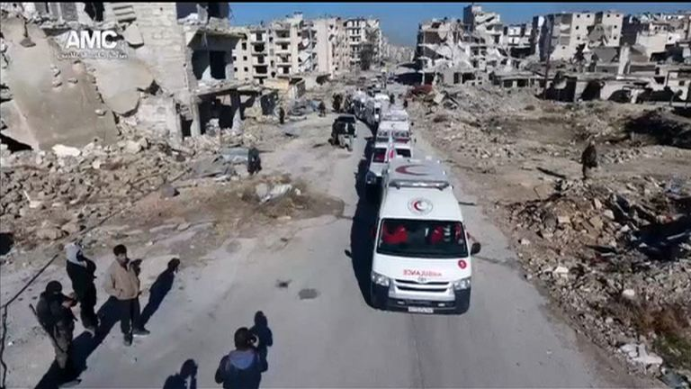 Screengrab from Reuters feed - drone footage from Aleppo