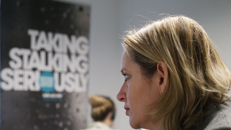 Amber Rudd visiting the Suzy Lamplugh Trust, which runs the National Stalking Helpline