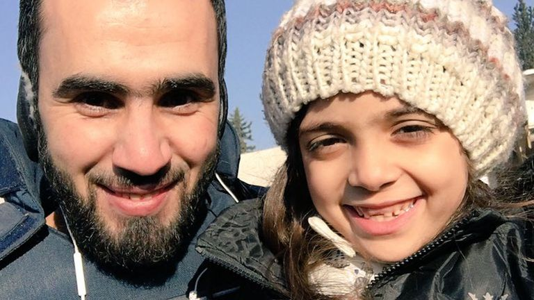 Bana Alabed (right) posing with a journalist after being evacuated from eastern Aleppo.  Pic: Twitter / HadiAlabdallah