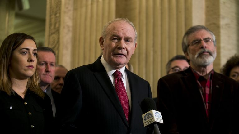 Deputy First Minster Martin McGuinness outside the Great Hall after opposition parties walk out