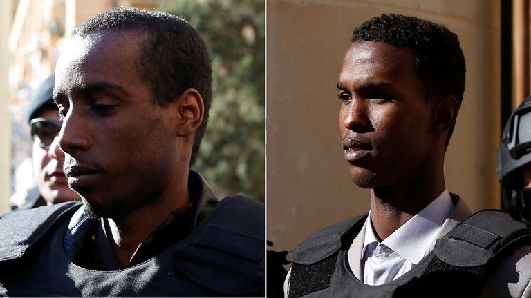 Two men suspected of hijacking an Afriqiyah Airways flight arrive in court in Valletta