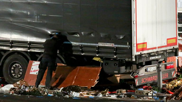 Debris lies on the floor after a lorry crashed into a Christmas market in Berlin