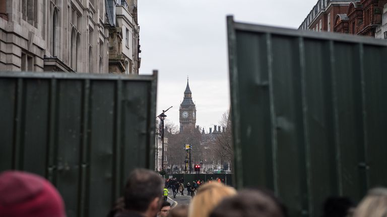 Barriers are put in place closing off Whitehall and surrounding roads as security is stepped-up across London ahead of New Year's celebrations on December 31, 2016 in London, England