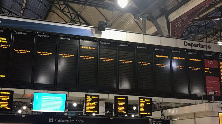 Empty departure boards at London's Victoria Station during the Southern strike on Tuesday