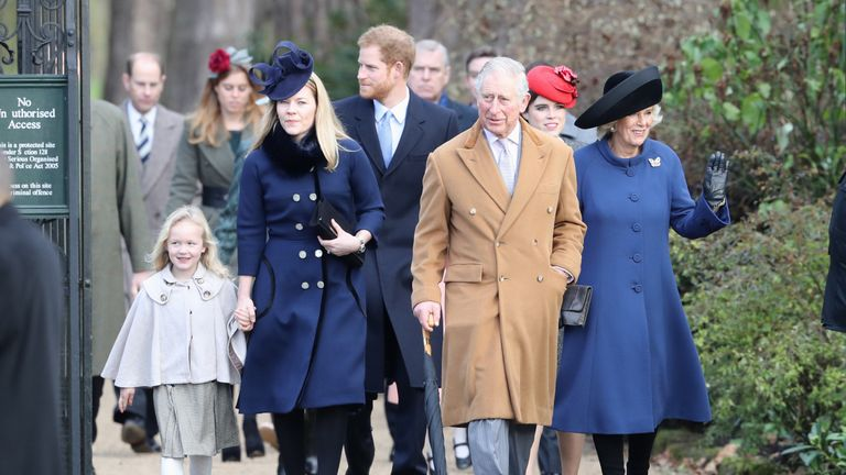 Prince Harry, Prince Charles and other members of the Royal Family attended the church service at Sandringham