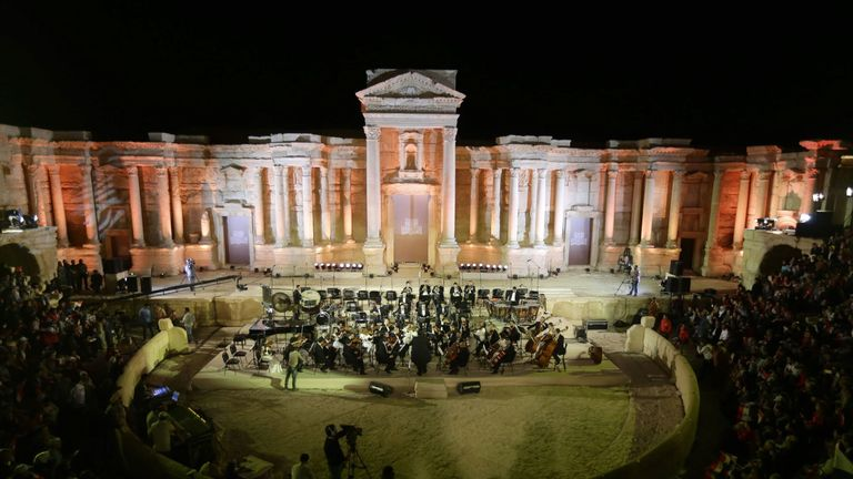 A concert in the ancient theatre in Palmyra after Syrian forces recaptured it from the Islamic State