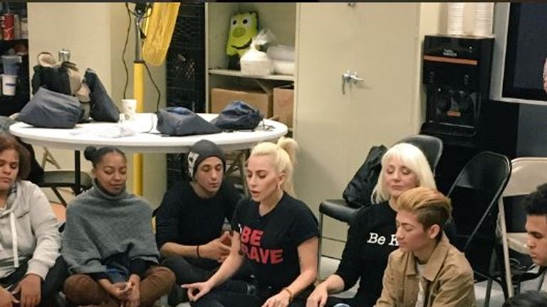 Lady Gaga at the Harlem's Ali Forney Center for homeless LGBT youth