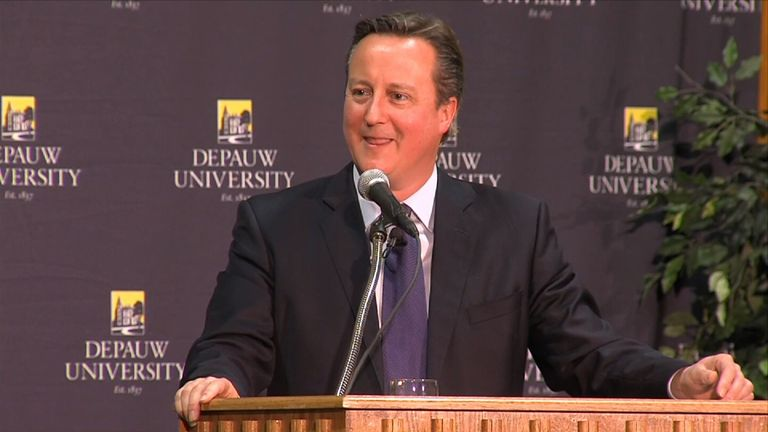 David Cameron speaking at Depauw University in Indiana