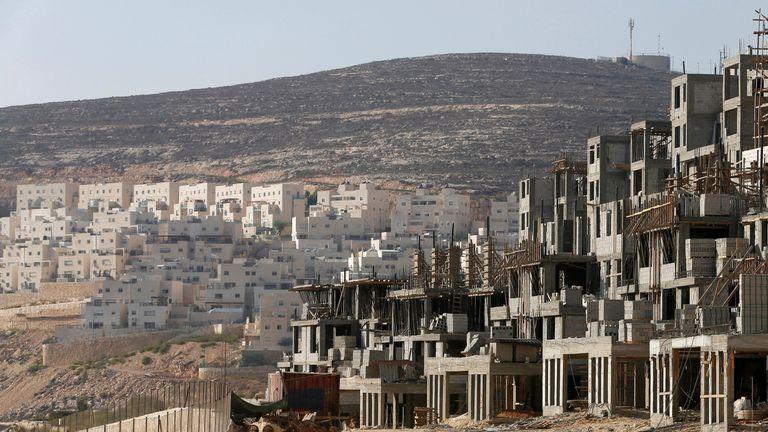 A construction site in the West Bank Jewish settlement Givat Zeev, near Jerusalem