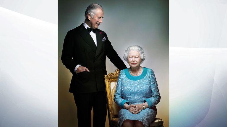 The Queen and Prince Charles in the White Drawing Room, Windsor Castle, in May