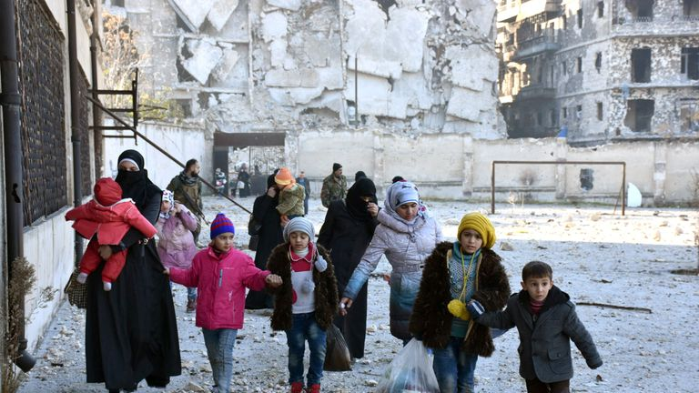 Civilians flee deeper into the remaining rebel-held areas of Aleppo