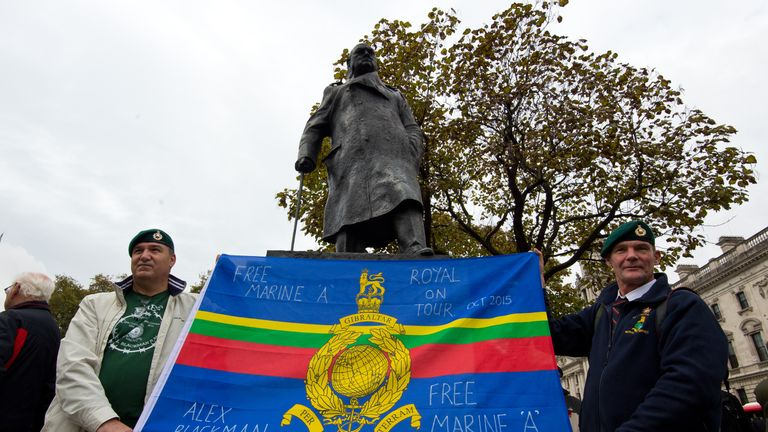 Ex-servicemen demonstrated in Parliament Square in 2015 against Sgt  Blackman's conviction
