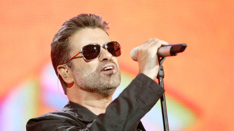 Singer George Michael performs on stage at Live 8 London in Hyde Park in 2005