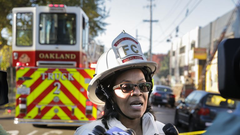 Oakland Fire Chief Teresa Deloach Reed speaks to the press following an overnight fire that claimed the lives of at least nine people at a warehouse in the Fruitvale neighborhood on December 3, 2016 in Oakland, California. The warehouse was hosting an electronic music party