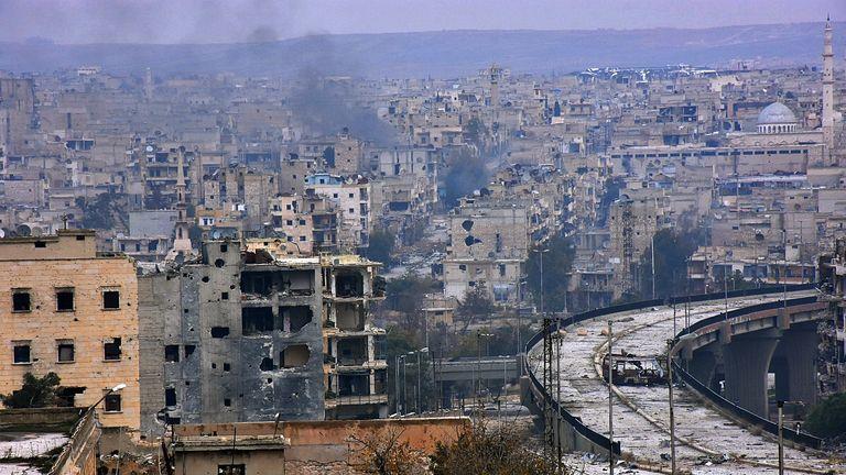 Destroyed buildings in Aleppo's eastern al Shaar neighbourhood