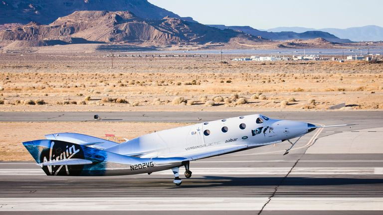SpaceShipTwo - dubbed VSS Unity - landing in Mojave, California