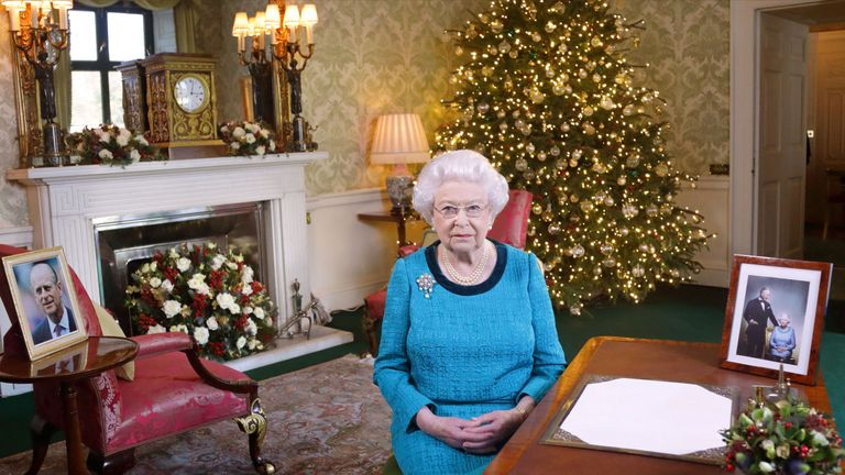 The Queen at Buckingham Palace after recording her Christmas Day message
