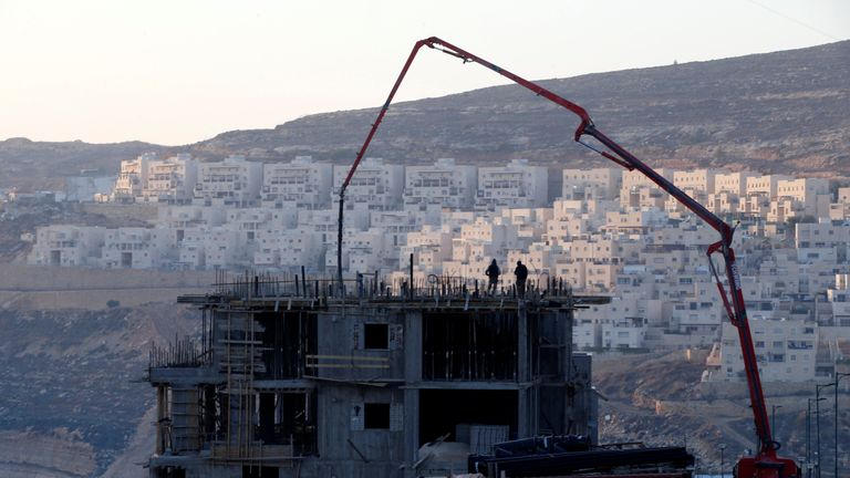 A construction site is seen in the Israeli settlement of Givat Zeev, in the occupied West Bank December 22, 2016