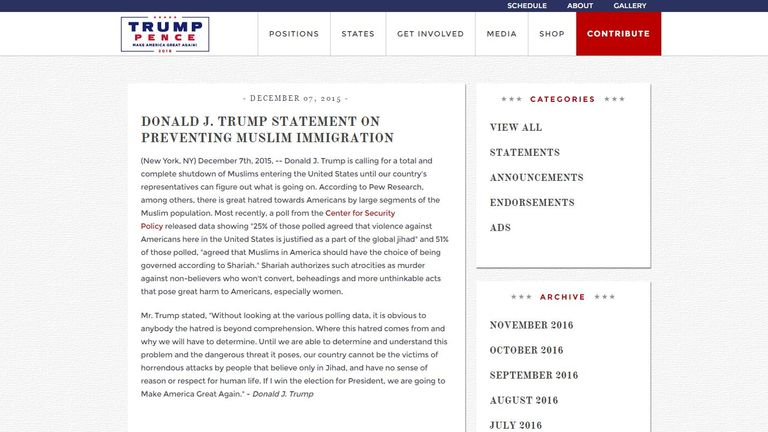 The proposal for a ban on Muslim immigration remains on Mr Trump's campaign website