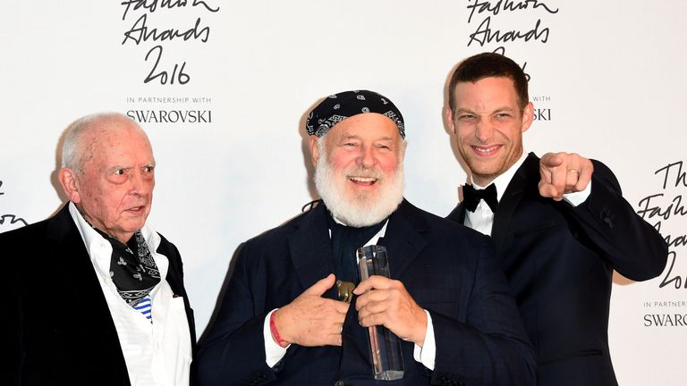 Photographer Bruce Weber (C) poses with David Bailey (L) and James Jagger (R)